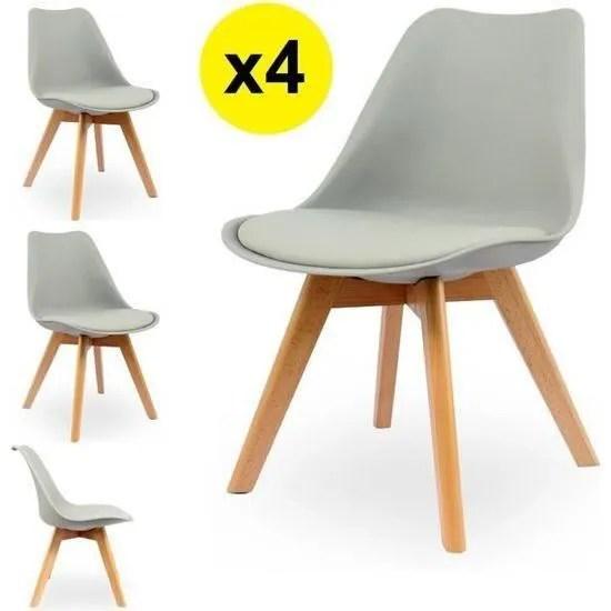 lot de 4 chaises scandinaves coloris gris clair