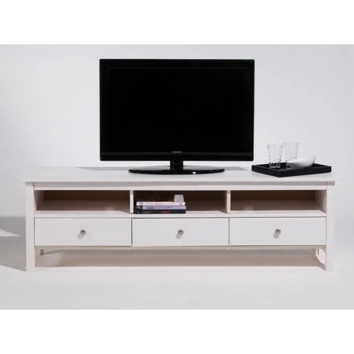 meuble tv bas en bois massif 3 tiroirs