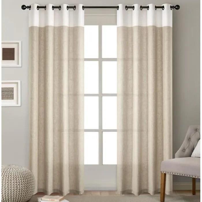 rideaux occultants en lin de couleur unie marron