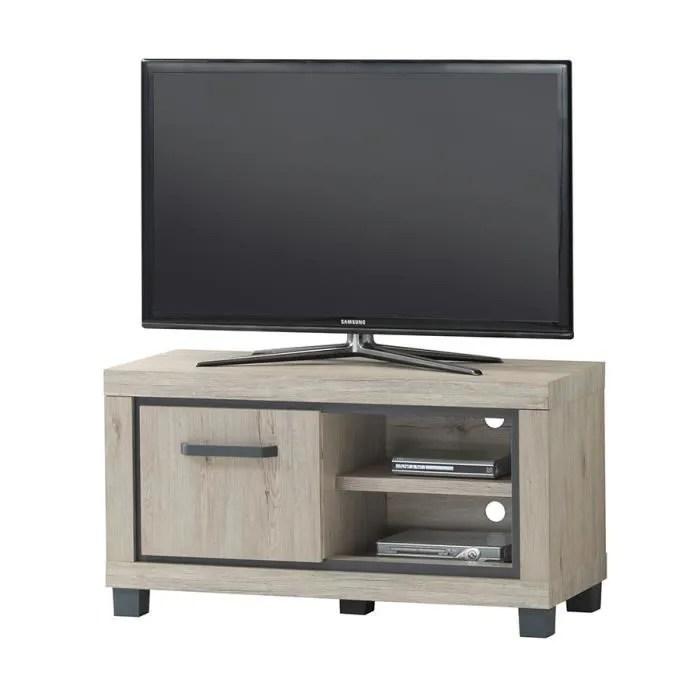 meuble tv 110 cm pas cher couleur chene naturel et gris eleonore beige l 110 x p 45 x h 58 cm
