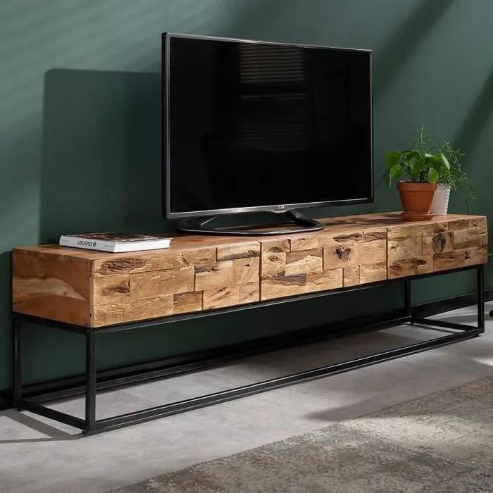 meuble tele 180 cm contemporain en acacia hinano m
