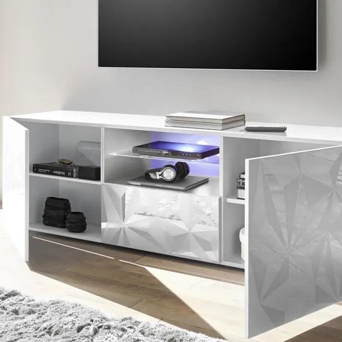 meuble tv 180 cm design blanc laque antonio l 181