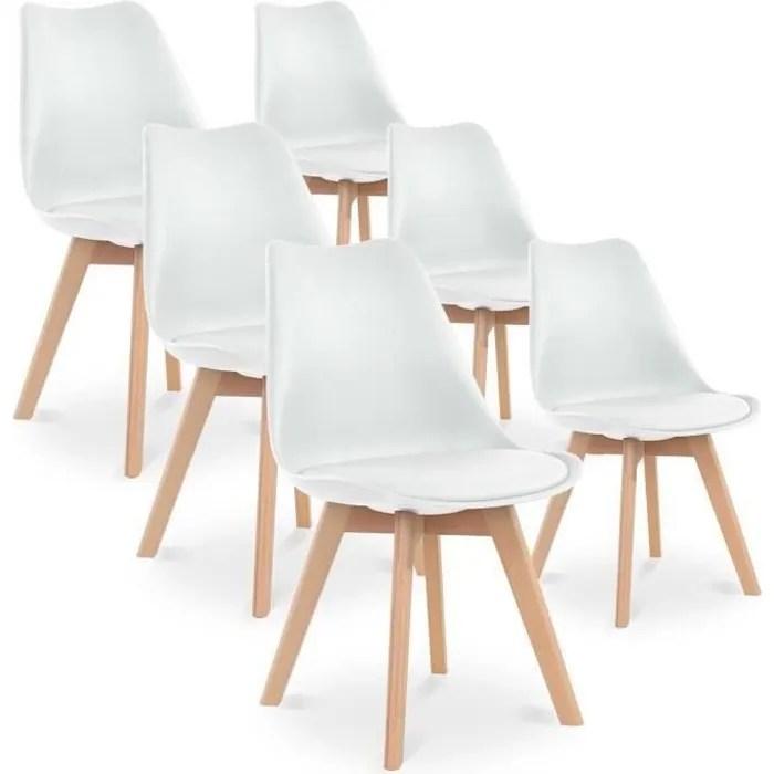 catherina lot de 6 chaises blanc scandinave pieds bois