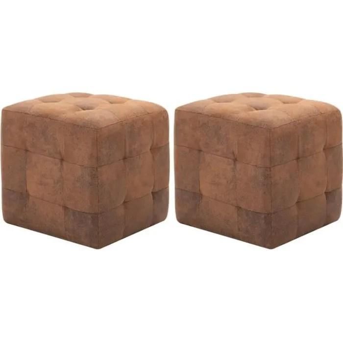 2 pcs pouf coffre rangement salon chambre contemporains marron 30 x 30 x 30 cm similicuir daim
