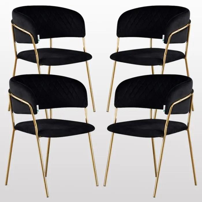 atarah lot de 4 chaises en velours