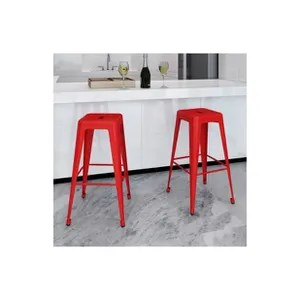 tabouret de bar rouge 4 pieds