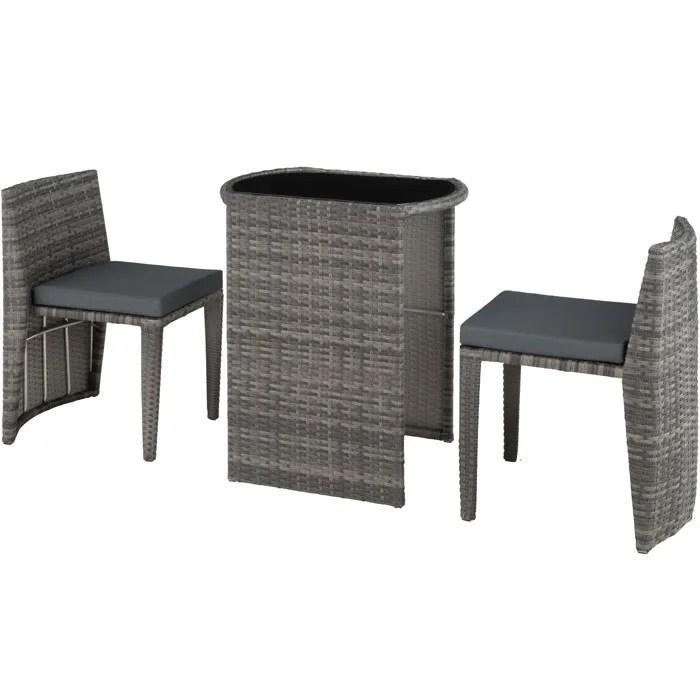 tectake salon de jardin hambourg encastrable 2 personnes 2 chaises 1 table en resine tressee et aluminium gris