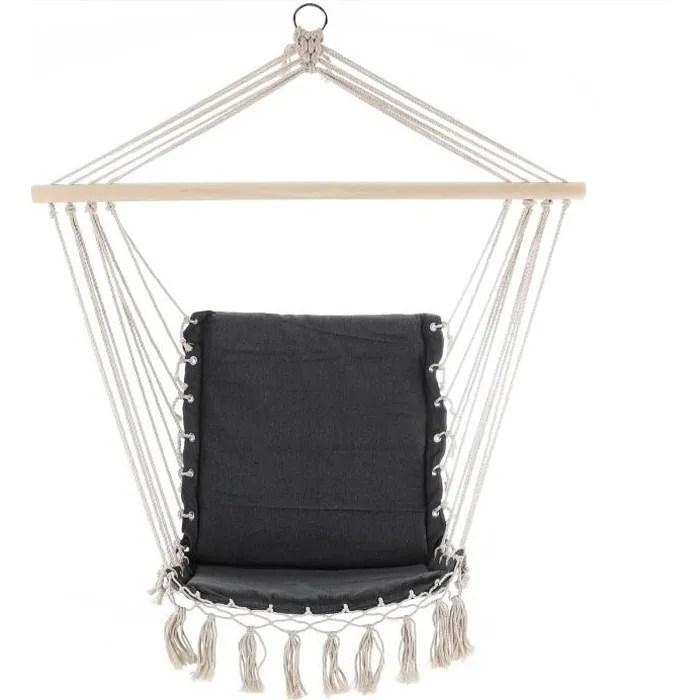 chaise suspendue 55x100cm gris siege fauteuil suspendu hamac charge max 150 kg