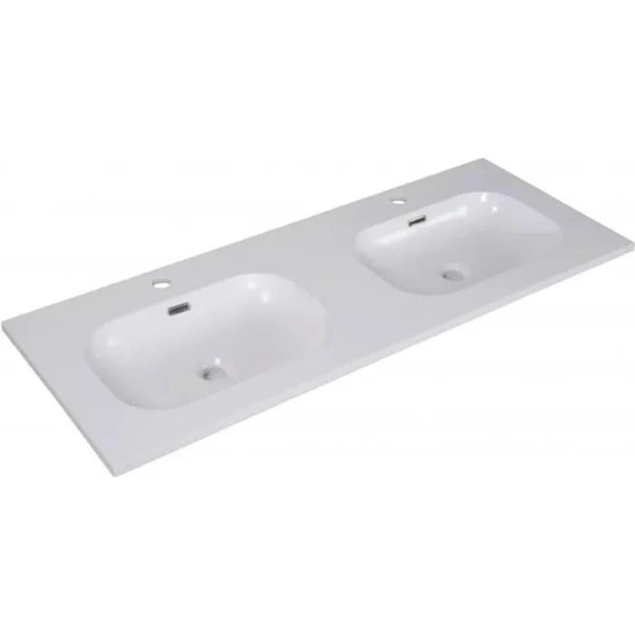 Plan Double Vasque Blanc Resine De Synthese 120 Cm Enio Achat Vente Lavabo Vasque Plan Double Vasque Blanc Cdiscount