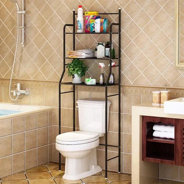 oobest colonne de toilette meuble wc metal meuble wc etagere de stockage noir