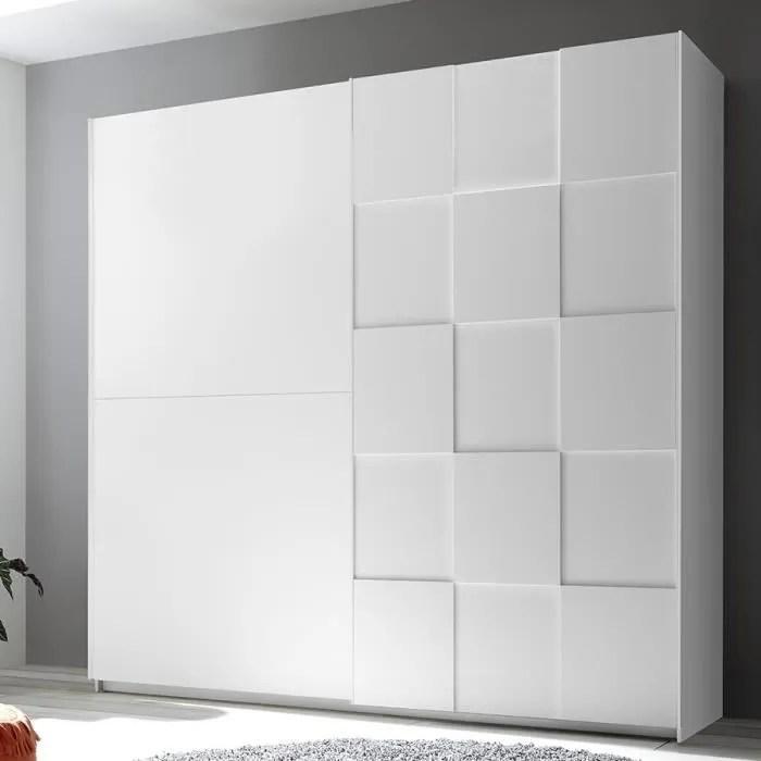 armoire 220 cm design blanc laque tiavano blanc l 220 x p 64 x h 210 cm