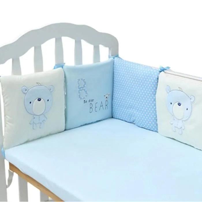 qianle tour de lit bebe pare choc de lit enfant 6 pieces 30 30cm beige bleu