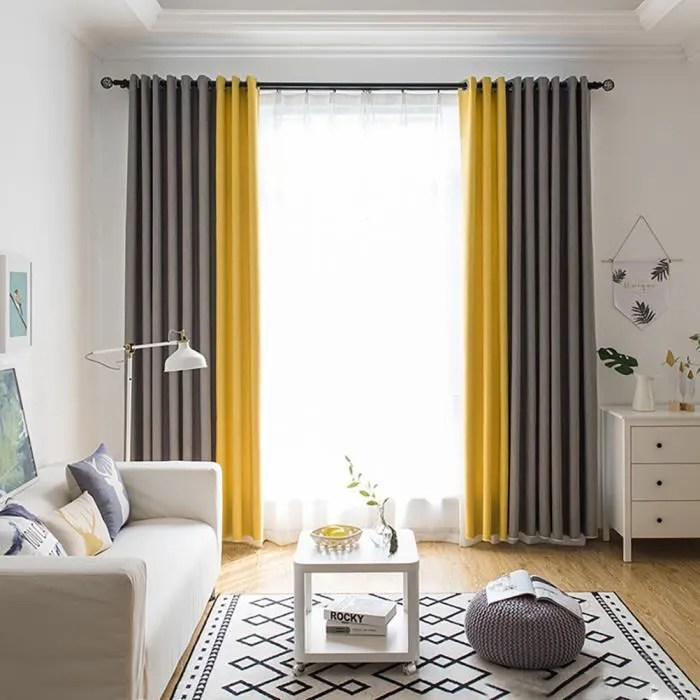 rideau salon jaune gris