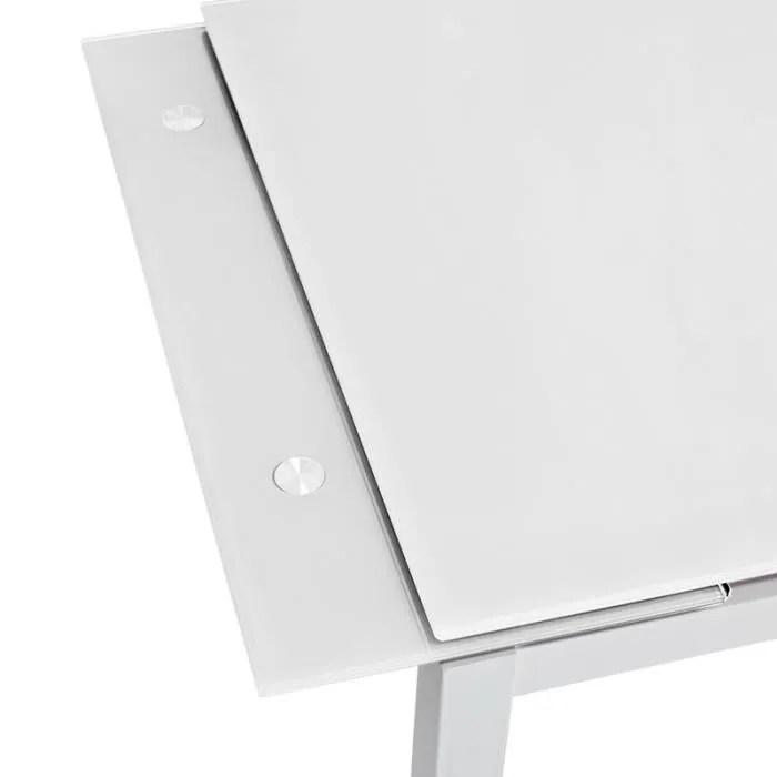 table extensible en verre trempe pure design queen blanc