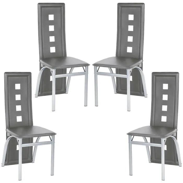 wiss lot de 4 chaises gris pour salle a manger salon cuisine en simili style contemporain hauteur d assise 43 cm
