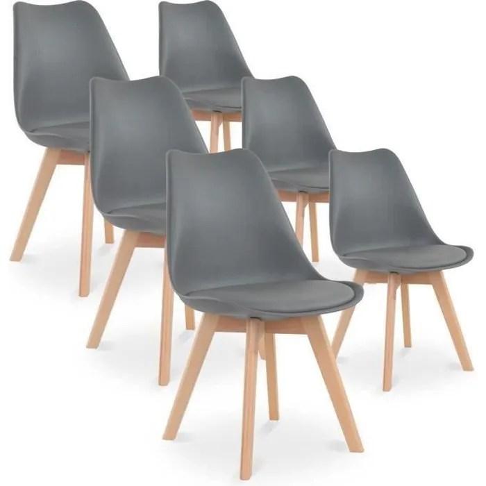 catherina lot de 6 chaises scandinave pieds bois gris