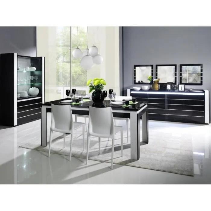 salle a manger complete lina noire et blanche table 160 cm buffet 3 x miroirs vaisselier led