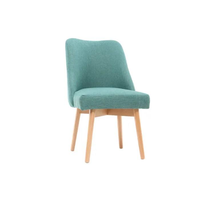 miliboo chaise scandinave tissu bleu turquoise pieds bois clair liv