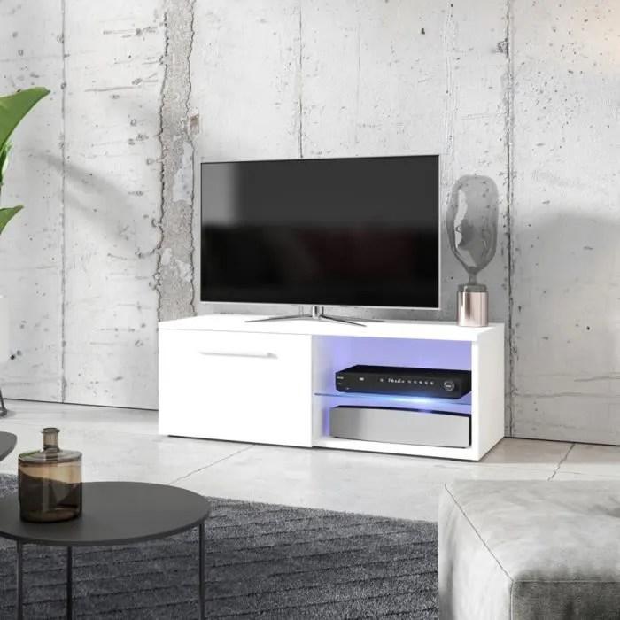 meuble tv meuble salon tenus single 100 cm blanc mat blanc brillant avec led 2 compartiments ouverts style classique
