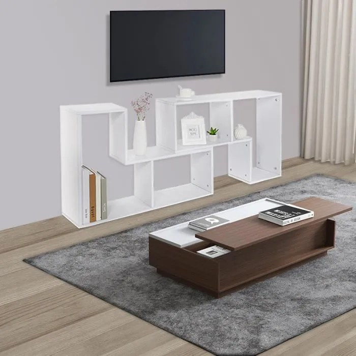 meuble tv table basse bibliotheque blanc
