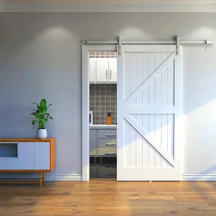 ruii 200cm rail pour porte coulissante kit accessoires pour porte coulissante simple style rustique blanc