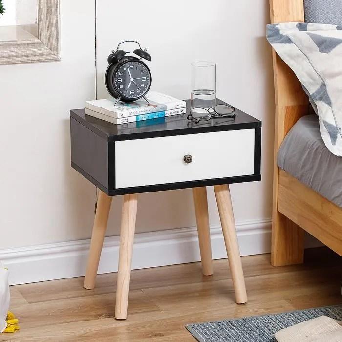 kangfun table de chevet scandinave noir blanc laque satine simple nordique 40 30 50cm