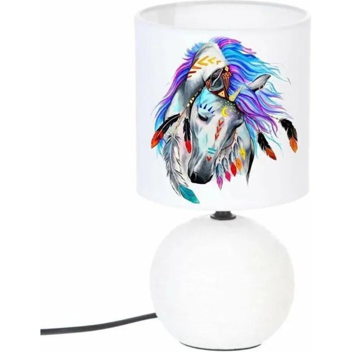 lampe de chevet pied boule cheval plume indien