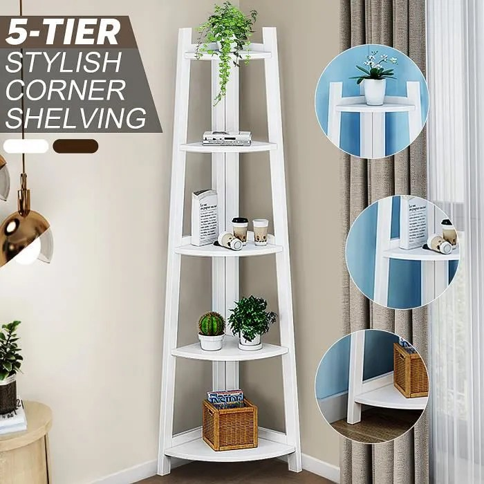 5 niveaux bibliotheque etagere d angle stockage su