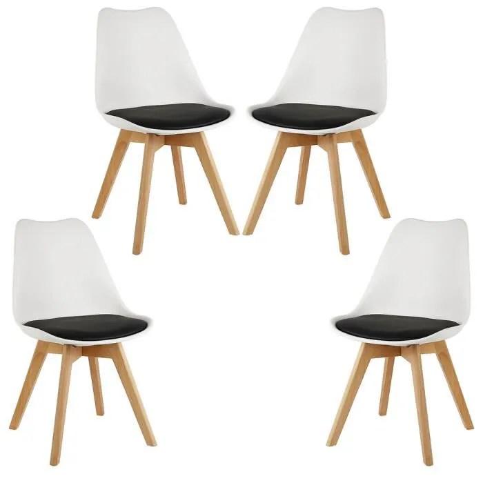 4 x chaise salle a manger chaise de cuisine en similicuir assise plastique avec coussin bois noir blanc