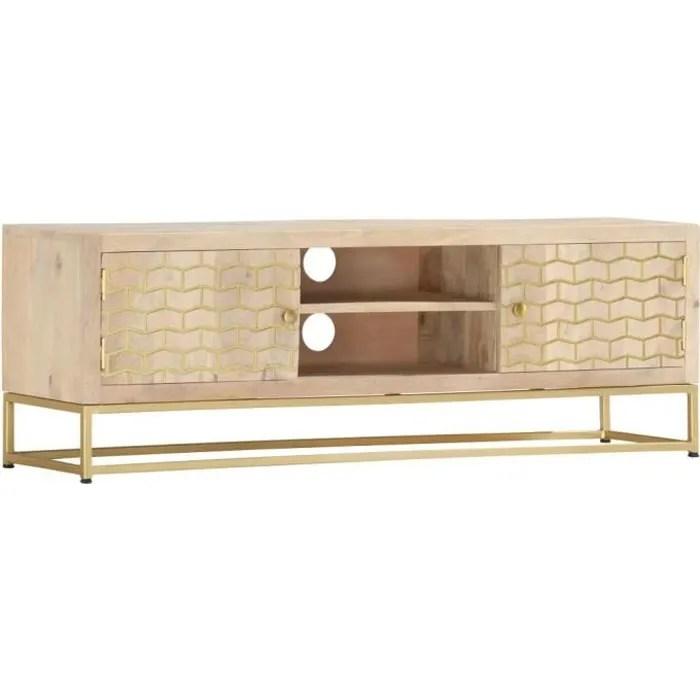 meuble tv dore 120 x 30 x 40 cm bois massif de man