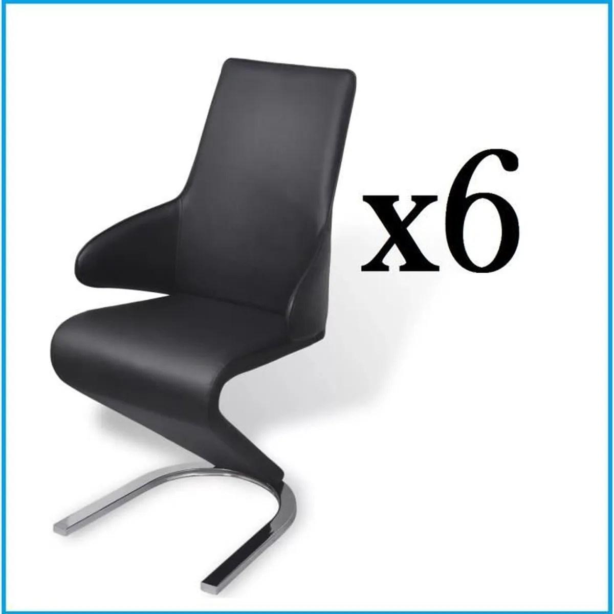 6 chaises en cuir artificiel noir