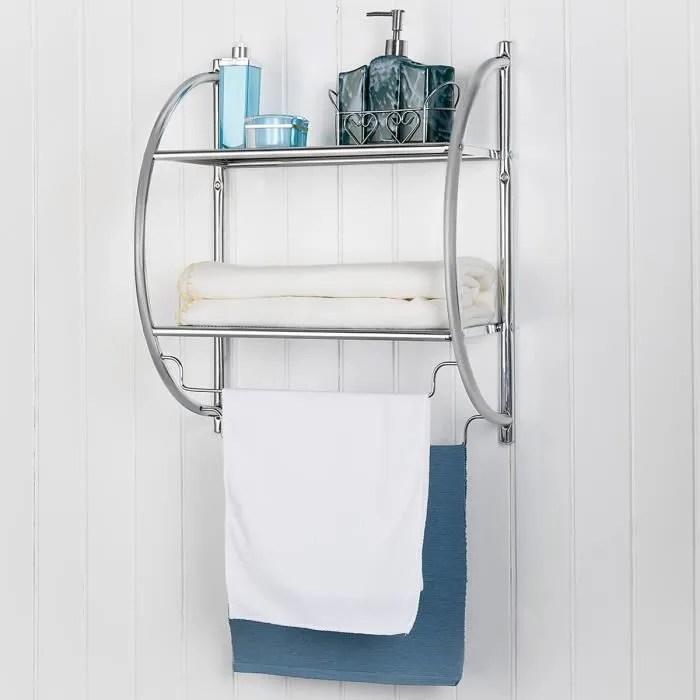 etagere murale porte serviettes pour salle de bains etagere murale pour toilettes avec 2 tablettes et 2 barre support de stockage de