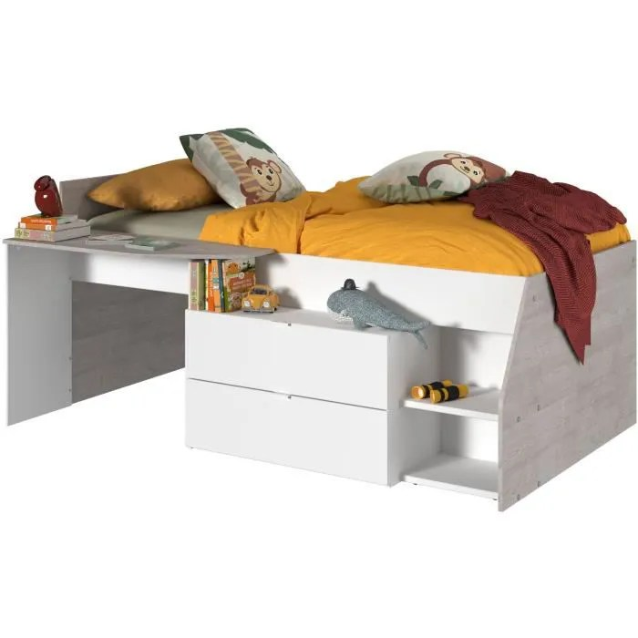 kim lit combine enfant contemporain decor gris loft et blanc l 90 x l 190 ou 200 cm