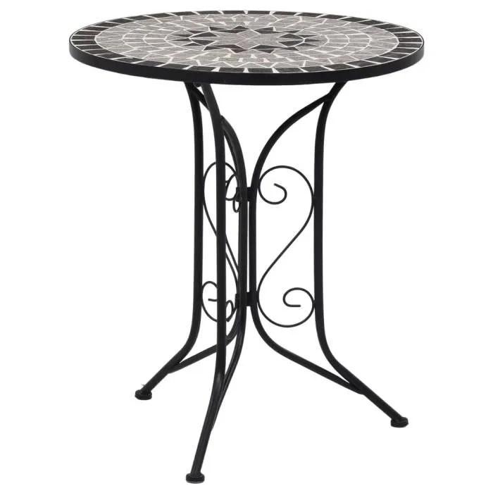 table de bistro mosaique gris 61 cm ceramique