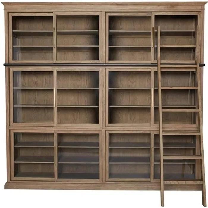 bibliotheque paris portes coulissantes 260x45x240cm 260 cm marron