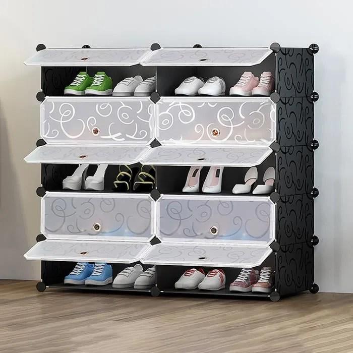 armoire a chaussures meuble de rangement pour 20 paires de chaussures 10 cube etagere a chaussures etagere de rangement en plastique
