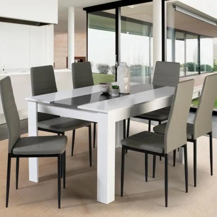 table a manger georgia 6 personnes blanche et gris