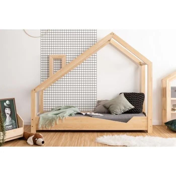 lit enfant 70 x 140 cm avec sommier type cabane en bois naturel modele na