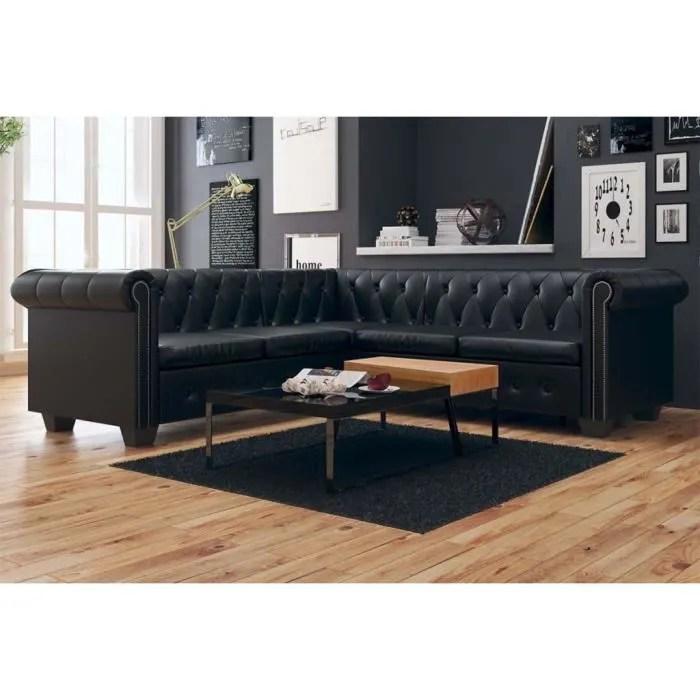 canape d angle chesterfield 5 places cuir synthetique noir