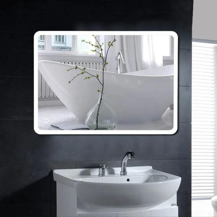 2 pcs miroir de salle de bain led angle arrondi 12