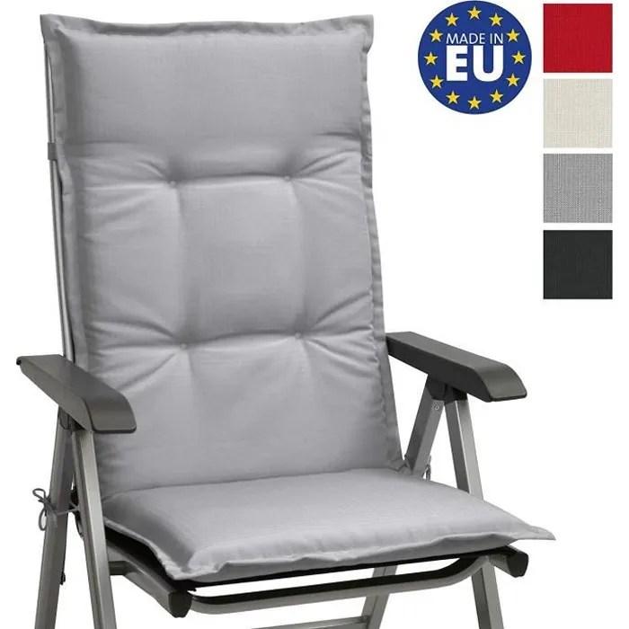 beautissu matelas coussin pour chaise fauteuil de jardin terrasse base hl haut dossier 120x50x6cm gris clair chaise non incluse