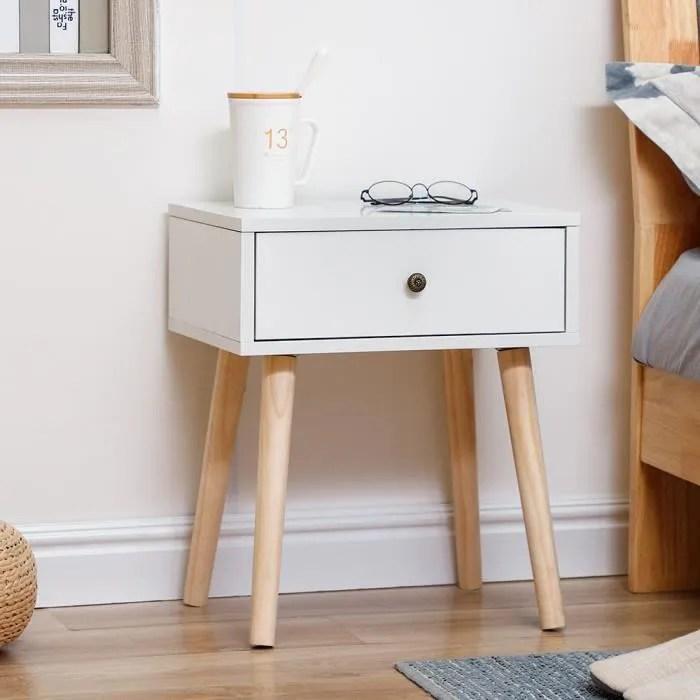luxs pas cher scandinaves table de chevet meuble rangement blanc hauteur 50 cmavec tiroir coulissant