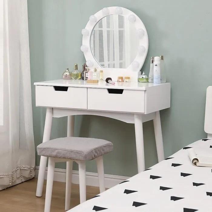 coiffeuse avec lumiere led table de maquillage blanche miroir amovible 2 tiroirs tabouret bois massif