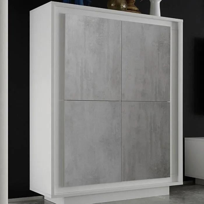 buffet haut design blanc laque et effet beton erine 7