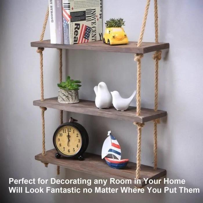 3 couches durable etagere suspendu en bois etagere murale en corde de bois style vintage simple
