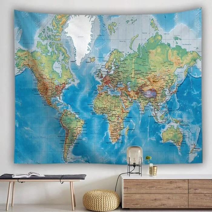 carte du monde pour tapisserie murale a suspendr