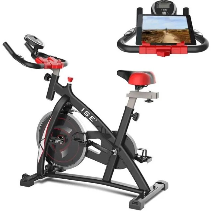 ise velo biking spinning magnetique velo d appartement interieur entrainement support capitonne roue inertie 10kg sy7802