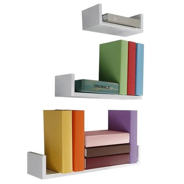 keke lot de 3 etageres murales etagere murale pyramide etagere diy blanc pour des livres cds ou deco