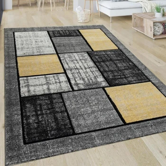 tapis salon motif a carreaux moderne poils ras car