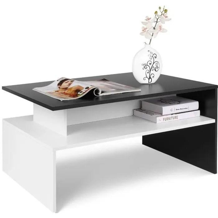 homfa table basse de salon design table de salon en bois moderne avec rangement 90 54 42cm noir et blanche